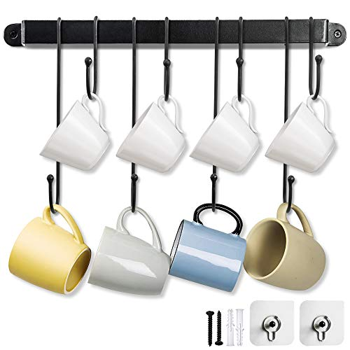 Coffee Mug Rack17 Inches Wall Mug Rack with Adjustable and Removable Hooks to Hang Mugs Cups and More Display Storage and Space Saving Mug Hangers for The Wall