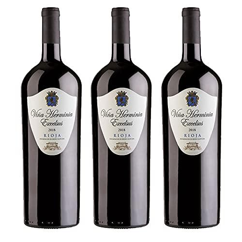 Vino Tinto Viña Herminia Excelsus 2018 de 75 cl - D.O. Rioja - Bodegas Grupo Caballero (Pack de 3 botellas)