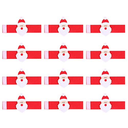 Amosfun 12 anillos de toalla de Navidad Papá Noel servilleteros no tejidos, decoración de mesa de Navidad, suministros para el hogar, hotel, restaurante