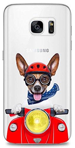 Mixroom - Cover Custodia Case in TPU Silicone Morbida Sfondo Trasparente per Samsung Galaxy S7 T643 Jack Russel in Vespa