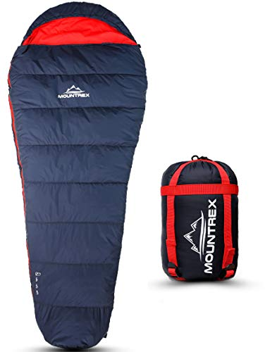 MOUNTREX® Schlafsack - Warm & Leicht (1500g) – 3-4 Jahreszeiten Schlafsack - Outdoor Mumienschlafsack (205x80cm) für Camping, Reise, Erwachsene - Kompaktes Packmaß (36x20cm) - Koppelbar (Rechts)