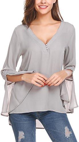 Zeagoo Women s Casual Chiffon Button V Neck Blouses Long Bell Sleeve Top Shirts Gray XL product image