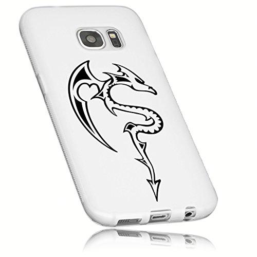 Mumbi Beschermhoezen voor Samsung Galaxy S7, TPU Case Samsung Galaxy S7 rubber cases accessoires siliconen hoezen slim beschermhoes, Galaxy S7, transparant wit draak