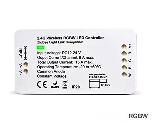 PeakLead ZigBee LED Strip Streifen Controller, RGBW Steuergerät für 12-24V LED Licht Stripes Lichtband, ZigBee Light Link ZLL-Vorschaltgerät, Philips Hue Bridge, Amazon Echo Plus, Lightify