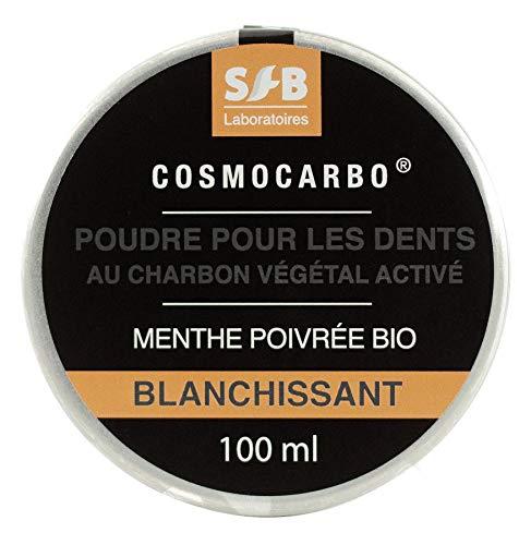 SFB Laboratoires - Poudre pour les Dents au Charbon Végétal Activé + Menthe Poivrée Bio - Poudre de Charbon Blanchissante, Nettoyante, Rafraichissante et Antibacterienne - Capsule de 100 ml