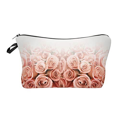 Fleur Sac Cosmétique Rose Rose Trousse De Maquillage Pratique Trousse De Toilette Accessoires Organisateur pour Voyage