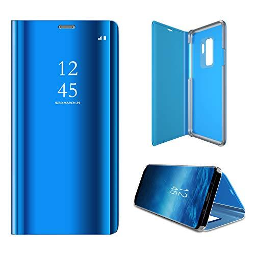 Langhuadd Espejo Compatible Samsung Galaxy S9/S9Plus Funda Translúcido Espejo Standing Cover,Slim Fit Funda Anti-Shock Rasguño Mirror Funda para (Azul, Samsung Galaxy S9)