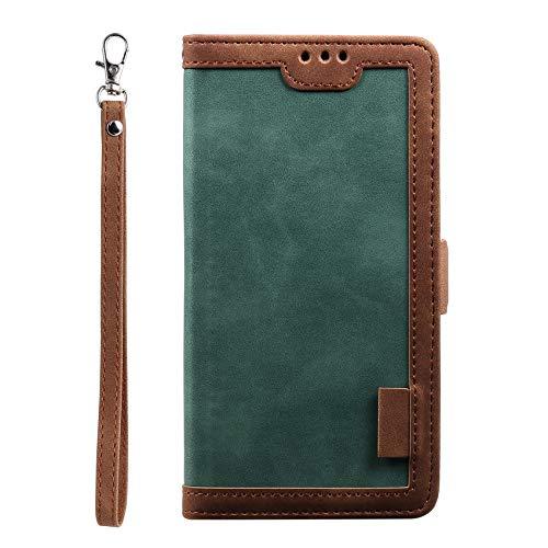 NEINEI Funda para Xiaomi Poco X3 GT,Moda Movil Libro Cuero Carcasa con [Cierre Magnético] [Muñequera],Diseño de Vintage Empalme PU/TPU Flip Folio Cover Case,Verde