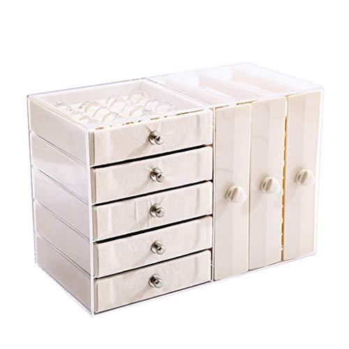 Jewelry Box Estante De Exhibición De Joyería Multifuncional con 3 Cajones Y 5 Capas De Cajón De Franela Caja De Joyería Transparente De Gran Capacidad (Color : Clear, Size : 26×13×18cm)
