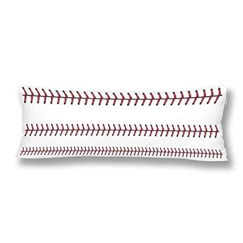 CiCiDi Seitenschläferkissen Kissen-Bezug 40x145 cm Softball Baseball roter Spitze Weiß Sport Atmungsaktives Kissenhüllen mit Reißverschluss Baumwollen und Polyester