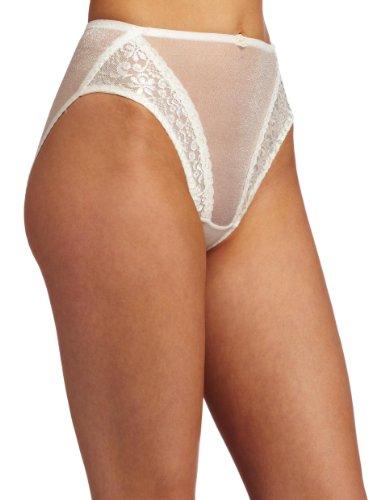 Carnival Womens High Cut Tux Stretch Bikini Panty, Ivory, Small