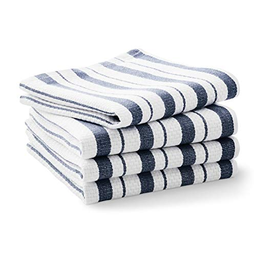 Williams-Sonoma Classic Striped Dishcloths, Dishrags, Navy Blue (Set of 4)
