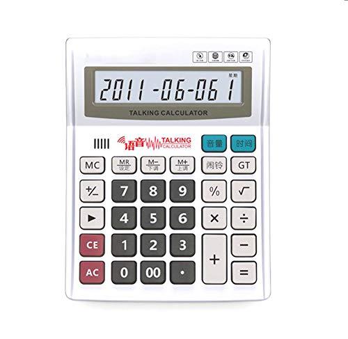 Taschenrechner Voice Desktop Calculator 12-Stelliges Display Mit Akku Metallpanel Kalenderanzeige Alarmeinstellungen Echte Menschliche Aussprache Weiß