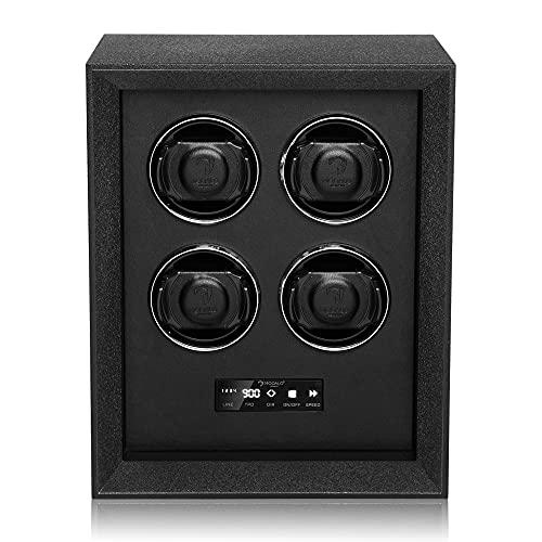Modalo Caja giratoria para relojes automáticos 4 relojes Watch Winder Box Safe System iluminación LED