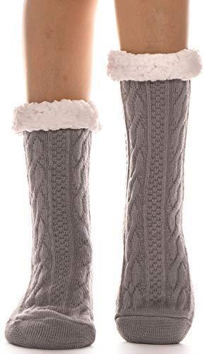 ANTSANG Damen Kuschelsocken Stoppersocken Warme Rutschsichere Hüttensocken Dicke Hausschuhe Socken Flauschig Geschenk Winter Weihnachtssocken (Grau)