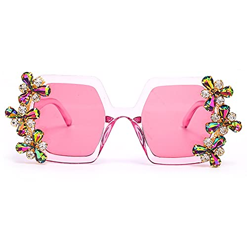 ShSnnwrl Único Gafas de Sol Sunglasses Gafas De Sol De Diamantes De Moda para Mujer, Gafas De Sol Cuadradas Coloridas Vintage, Ga