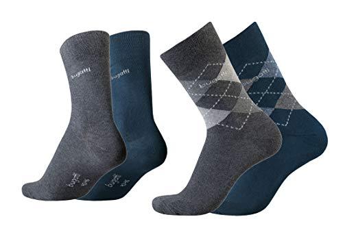 bugatti Herren Socken 4er Pack Argyle + uni dark navy,anthrazit melange, Size:39-42, Farben:ind/ant