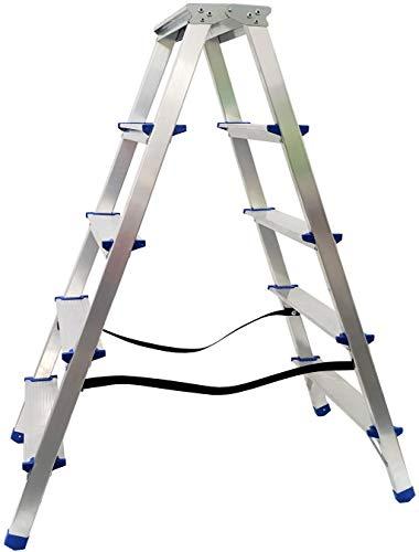 Alu Doppelstufenleiter - Aluminium Leiter - Trittleiter Bockleiter Haushaltsleiter Klappleiter Klapptrittleiter - TÜV geprüft, EN 131 - bis 150 Kg (5 Stufen - 100 cm)