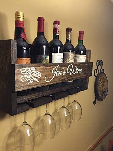 Custom Name Personalized Wine Rack Engraved Carved Custom Rustic 6 Bottle Wall Mount Wine Rack with 4 Glass Slot Holder, Wall Decor, Primitive, Handmade, Vintage, Wine Rack