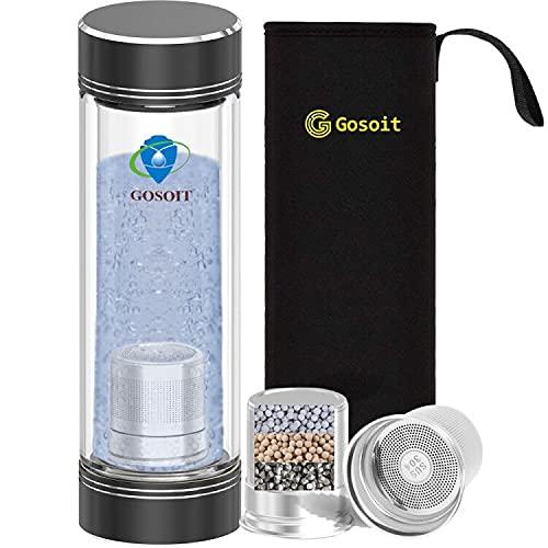 GOSOIT Hydrogen Water Ioniser Hydrogen Rich Alkaline Water Bottle Hydrogen Generator Hydrogen Production Concentration 800-1200 PPB PH Value 7.5-9.0 1PK Filter