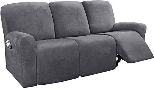Pillowcase Fundas de sofá reclinables de 8 Piezas Fundas de sofá reclinables elásticas de Terciopelo para Fundas de sofá de 3 Cojines Fundas Suaves Lavables para Muebles con Fondo elástico (Gris)