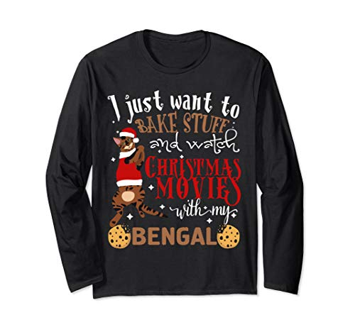 Watch Christmas Movies With My Bengal Cat Lover Long Sleeve T-Shirt