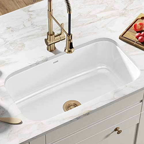 Kraus KEU-14WHITE Pintura 16 Gauge Undermount Single Bowl Enameled Stainless Steel Kitchen Sink, 31 1/2-inch, White