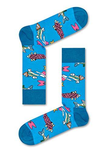 Happy Socks Herren & Damen Beatles 50th Jahrestag Fische Baumwolle Socken Packung mit 1 Blau 36-40
