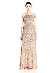 Rosegold Off The Shoulder Crunchy Bead Gown