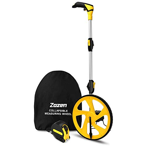 Measuring Wheel Zozen Collapsible with Kickstand and Cloth Carrying Bag Measurement 0-9,999 Ft