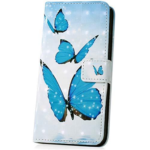 JAWSEU Kompatibel mit Huawei Y6 Pro 2017 Hülle, 3D Muster Schutzhülle Brieftasche Hülle PU Leder Tasche Handyhülle Lederhülle Flip Hülle Wallet Tasche Handytasche für Huawei Y6 Pro 2017,Schmetterling