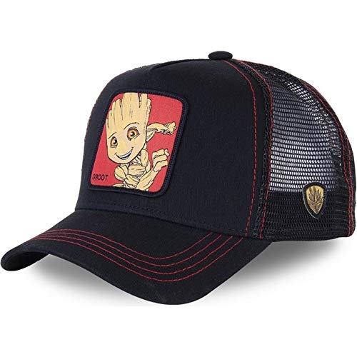 Nueva Gorra de bisbol de algodn Snapback para Hombres y Mujeres, Gorra de Camionero de Hip Hop para pap-Groot Black
