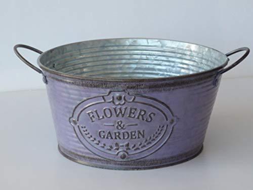 Flowers & Garden Zink-Schale lila, Pflanzgefäß klein, Blumenschale, Dekoschale
