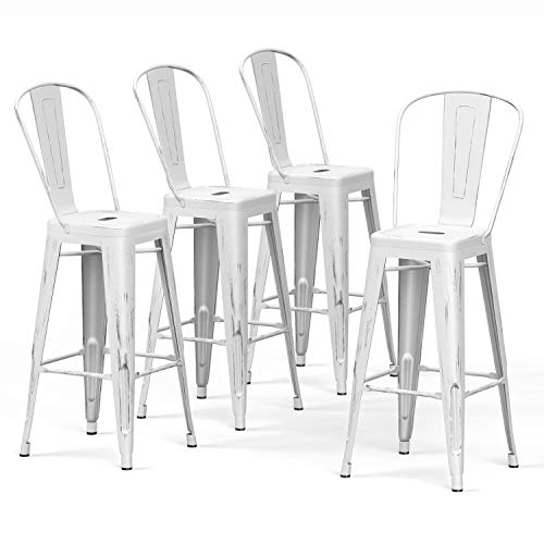 VIPEK 30' Bar Stools Commercial Grade Patio Metal Bar Chairs 30 Inches Height Barstool with High Back Side Dining Chairs for Indoor Kitchen Home Outdoor Bistro Pub, Set of 4, Distressed White Color