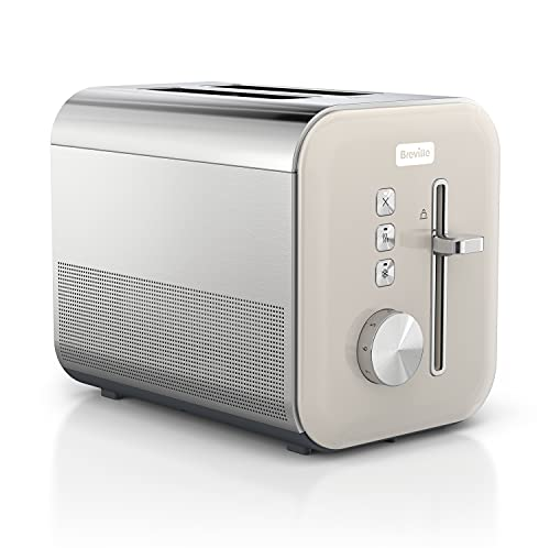 Breville High Gloss 2-Slice Toaster with High-Lift & Wide Slots   Cream & Stainless Steel [VTT967]