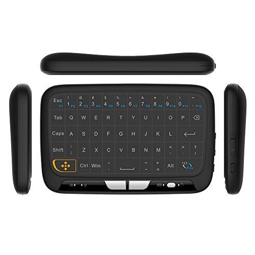 docooler H18 2.4GHz Tastiera Senza Fili Touchpad Completo Tastiera di Controllo Remoto Mouse Mode con Grande Touch Pad Risposte alle Vibrazioni per Smart TV Android TV Box PC Portatile
