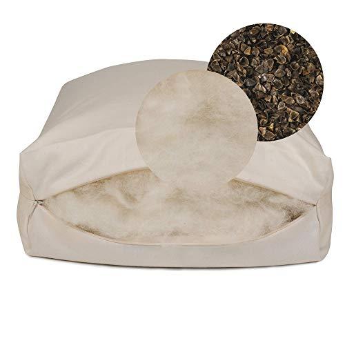 Rejuvenation Pillow with Organic Buckwheat Hulls and Natural Wool