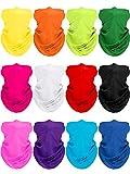 12 Stücke Unisex UV Schutz Halsmanschette Kopfwickel Schal Schlauch Sport Bandana Sturmhaube Schal für Outdoor Sportarten (Gemischte Farben)