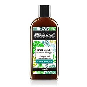 Nuggela & Sulé Champú 100% Green Apto Veganos 250ml/8,45Oz. Potente fórmula con activos naturales. Nutre y fortalece el cabello. SIN: sulfatos, siliconas, parabenes. MEJOR PRODUCTO ESQUIRE MAGAZINE.