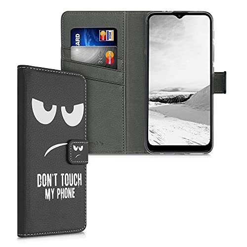 kwmobile Carcasa Compatible con Motorola Moto G30 / Moto G20 / Moto G10 - Funda de Cuero sintético con Don't Touch my Phone - Case con Tarjetero