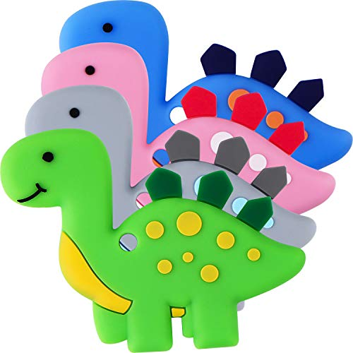 Teething Toys (4 Packs) – Tinabless Infant Dinosaur Teether Set, Natural Organic Freezer Safe for Infants and Toddlers…