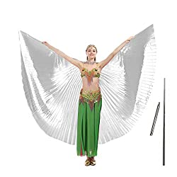 Belly Dance Wing with Rods–360 Degree Isis Angel Wings with Portable Telescopic Sticks for Adults and Child