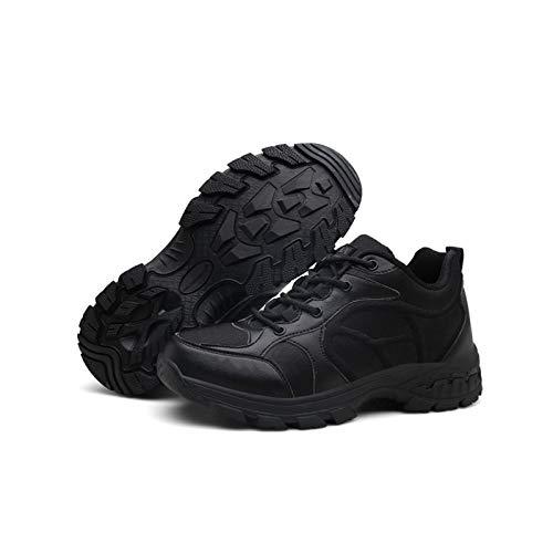 HAOLIN Botas tácticas al aire libre para hombre, resistentes al desgaste, botas de trabajo, impermeables, zapatos de combate, color negro, 40
