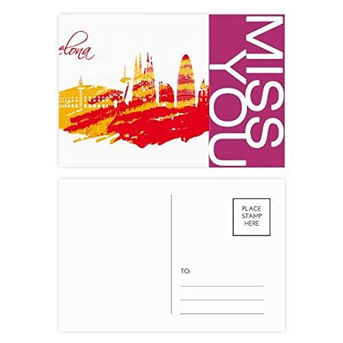 City Silhouette Barcelona Miss Postkartenset, Danksagungskarte, Postkarte, Rot, Gelb, 20 Stück