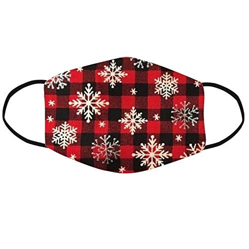 Face Protection for Adult Resuable Washable Christmas Print Face Bandana Dustproof Windproof Breathable with Elastic Strap Earloop for Outdoor Working Traving Camping