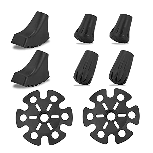 Aneagle Trekking Poles Accessories Rubber Tips 8 Pack Replacement Tips Protectors,Snow Baskets for Trekking Poles, Fits Most Standard Hiking, Nordic Walking Sticks