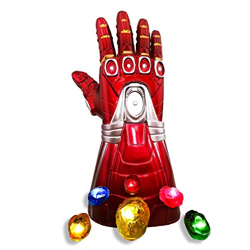 yacn Guantelete Infinito de PVC Iron Man Que Brilla intensamente con Piedras LED Brillantes, Guantes de Flash iluminan Accesorios de Disfraces de Halloween para niños / Adultos (Kid)