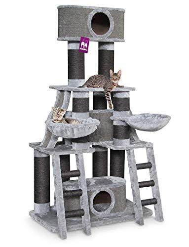 Petrebels Kratzbaum Grosse Katzen stabil für Maine Coon und für mehrere Katzen XXL Skyline 185 cm Grau