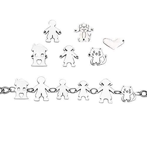 Beloved Braccialetto famiglia donna o unisex in acciaio personalizzabile fino a 8 elementi – bracciale componibile mamma, papa, bimbo, bimba, gatto, cane, cuore, casa – colore silver (5 Elementi)