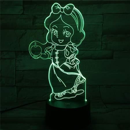 USB 3D Led Nachtlicht 7 Farbwechsel Beleuchtung Lampe Mädchen Kind Kinder Baby Geschenke Tischlampe Nacht Prinzessin Princess Schneewittchen Abbildung